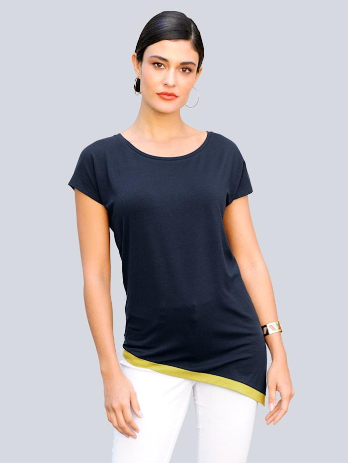 Alba Moda Shirt in trageangenehmer elastischer Ware, Marineblau/Pistaziengrün