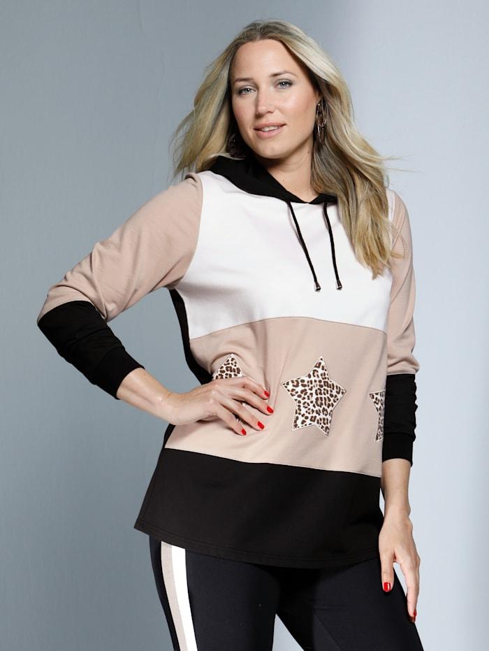 MIAMODA Sweatshirt mit Sternenmotiven, Beige/Creme-Weiß/Schwarz