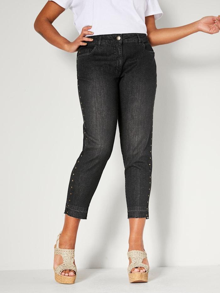 Angel of Style Jeans med nagler langs siden, Koksgrå