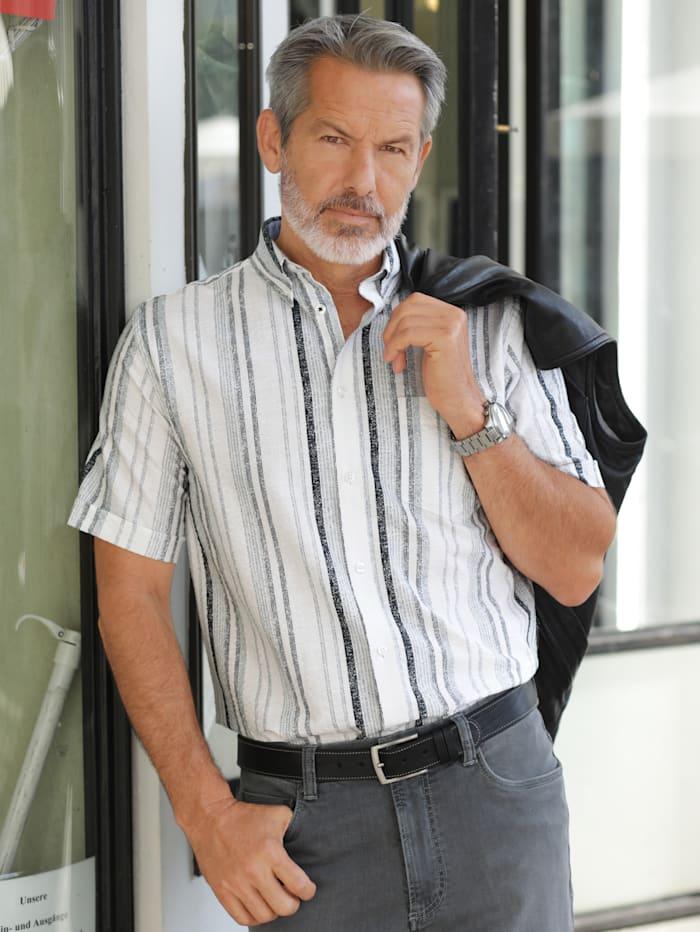BABISTA Seersuckerhemd aus reiner Baumwolle, Weiß/Grau