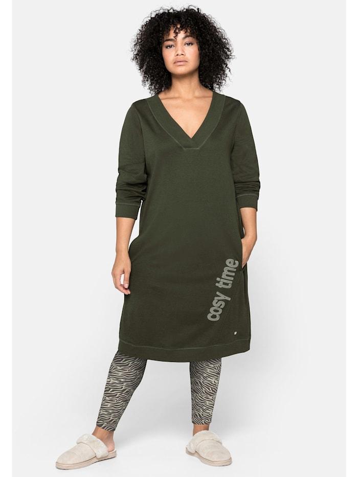 Sheego Sheego Kleid mit seitlichem Frontdruck und Eingrifftaschen, dunkeloliv