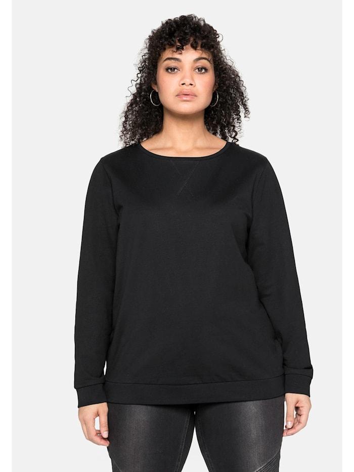 Sheego Sweatshirt mit seitlichen Reißverschlüssen, schwarz