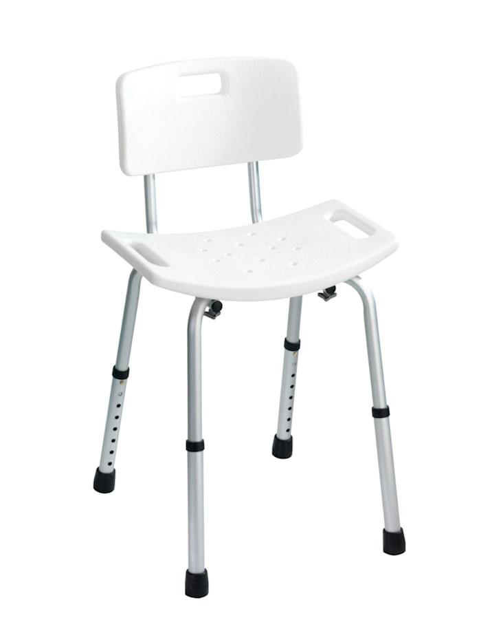 Wenko Badhocker mit Rückenlehne Secura, bis 130 kg Tragkraft, Sitz+Rückenlehne: Weiß, Stuhlbeine: Aluminium, Füße: Grau