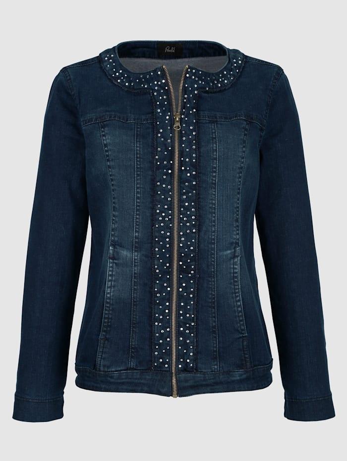 Jeansjacka i elegant modell med strass
