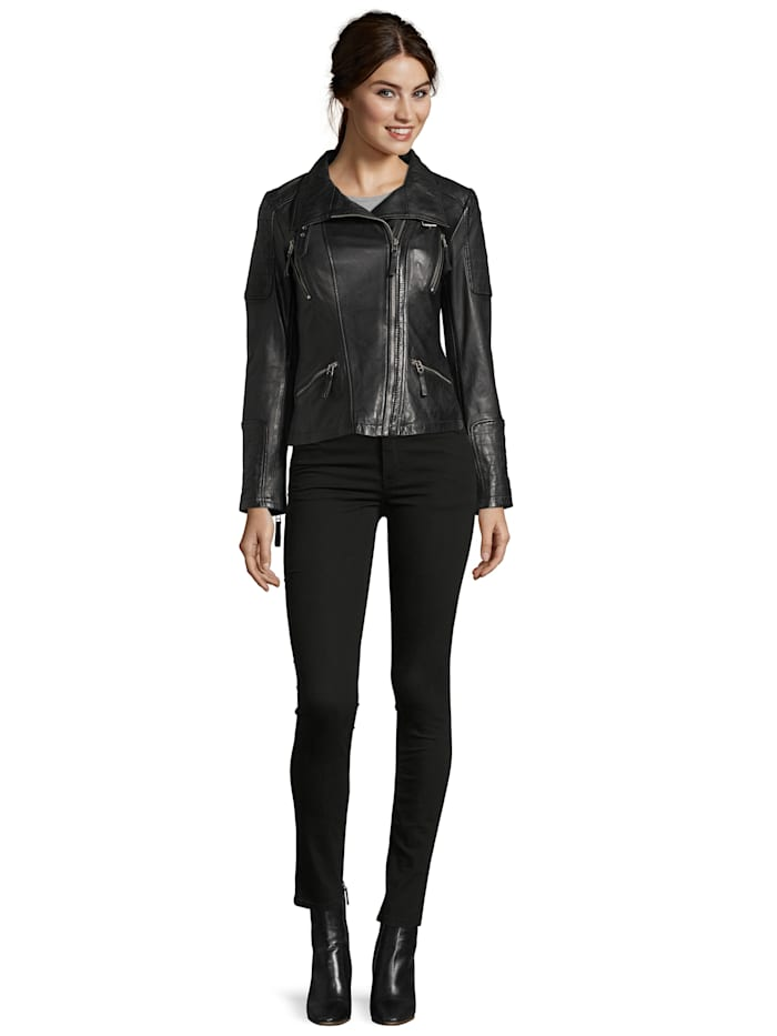 7eleven Lederjacke Mirtel mit breitem Stehkragen, black