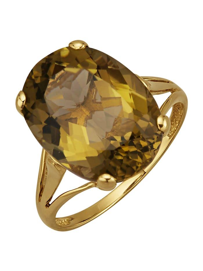 Amara Pierres colorées Bague en or jaune 585, Olive