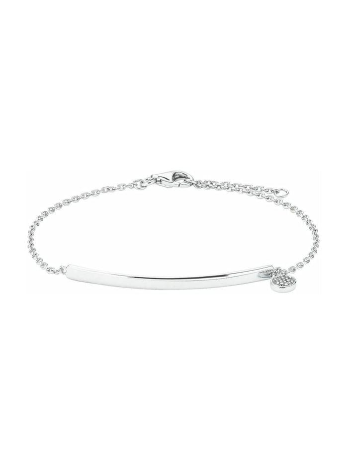 amor Armband für Damen mit Gravur-Anhänger, glänzendes Silber 925, Silber