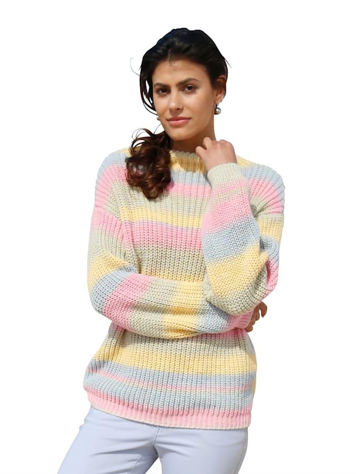 AMY VERMONT Pullover in Streifen-Optik, Gelb/Rosé/Hellblau