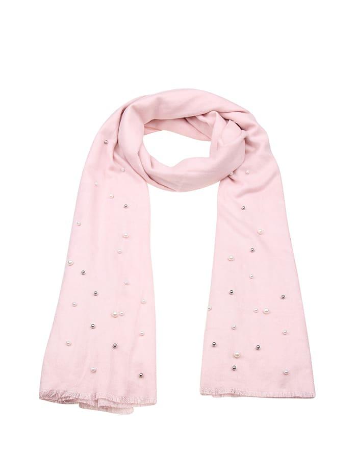 Leslii Schal Perlen Schimmer mit schicker Perlenverzierung, rosa-weiß