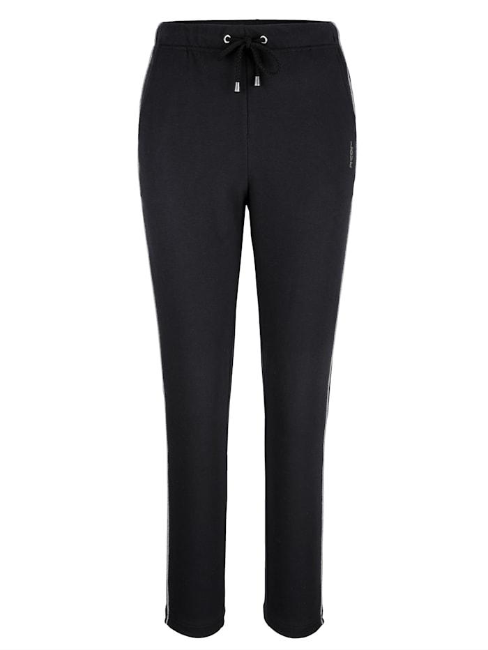 Blue Moon Pantalon de loisirs à joli motif en strass, Noir