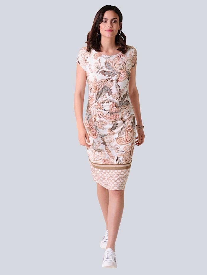 Alba Moda Jersey jurk met exclusief Alba Moda dessin, Roze/Bruin