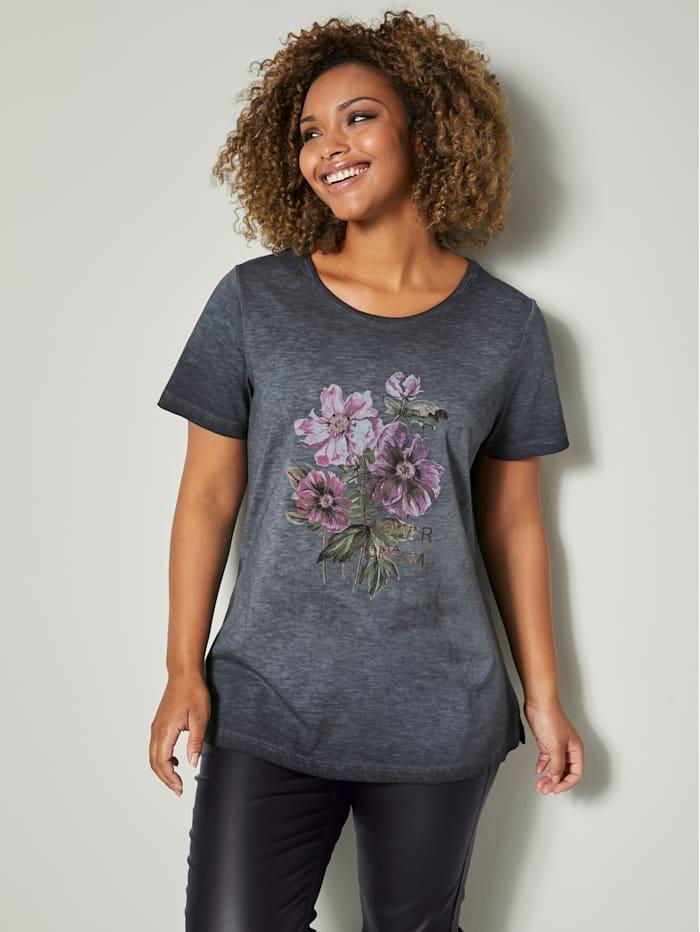 Angel of Style Shirt aus reiner Baumwolle, Anthrazit/Rosé