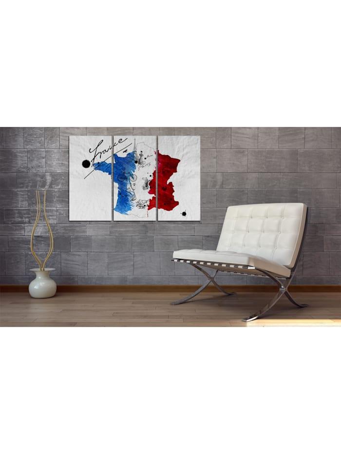 Wandbild Willkommen in Frankreich! - Triptychon
