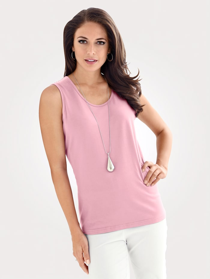 MONA Jersey top made from soft stretch cotton, Rosé