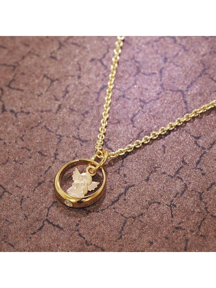 Taufring mit Engel Gold 585/14 Kt + goldplattierte Silberkette