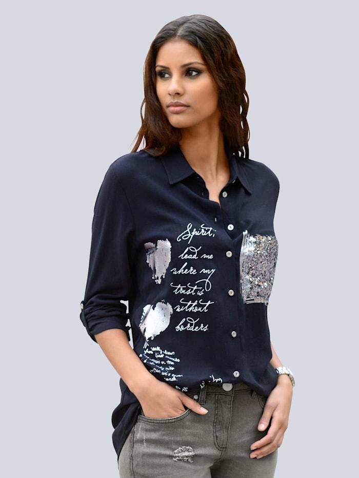 Bluse mit Pailletten und Folienprint