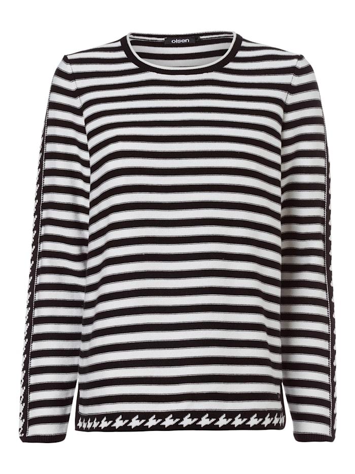 Olsen Rundhalspullover mit Streifen, Black
