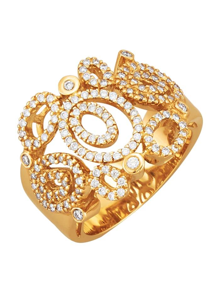 Diemer Diamant Damesring met briljanten, Geelgoudkleur