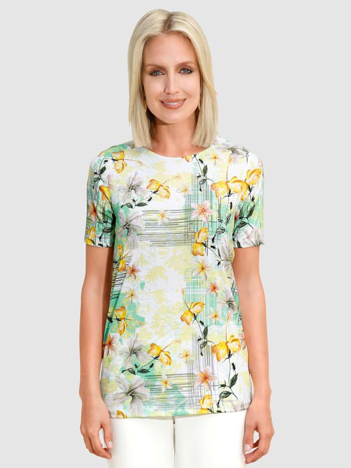delmod Shirt mit grafischem Alloverdruck, Mintgrün/Gelb