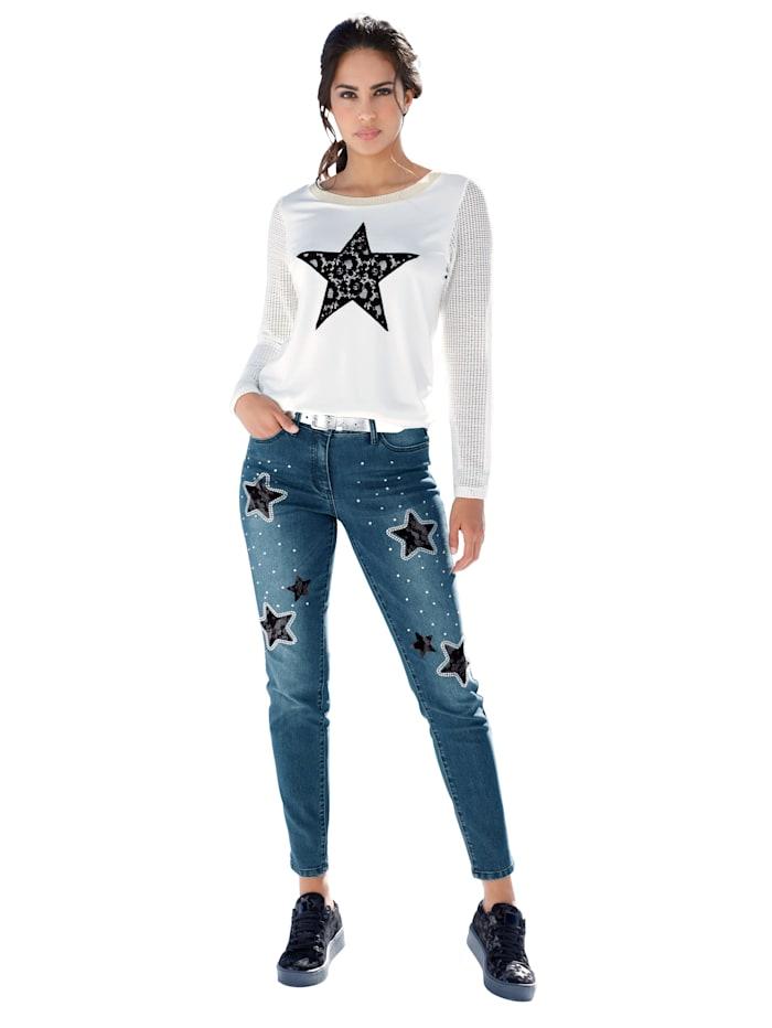 Shirt mit Sternmotiv aus Spitze