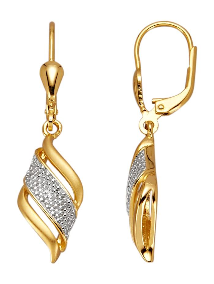 Ohrringe mit 2 Diamanten, Gelbgoldfarben