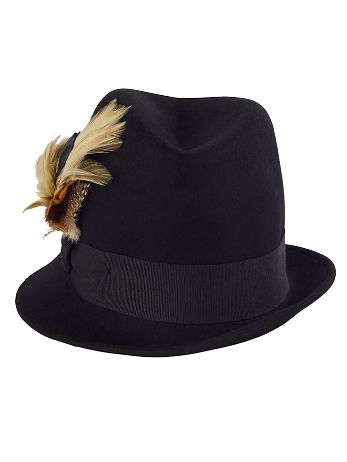 Sara Lindholm Tiroler hoed met veren, zwart