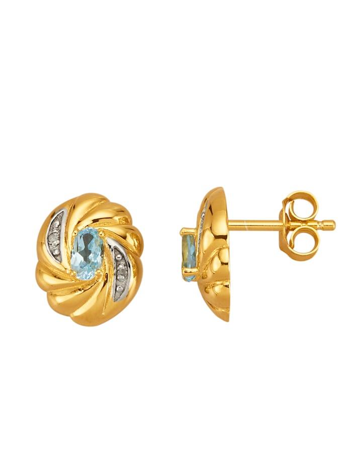 Boucles d'oreilles en argent 925, Bleu