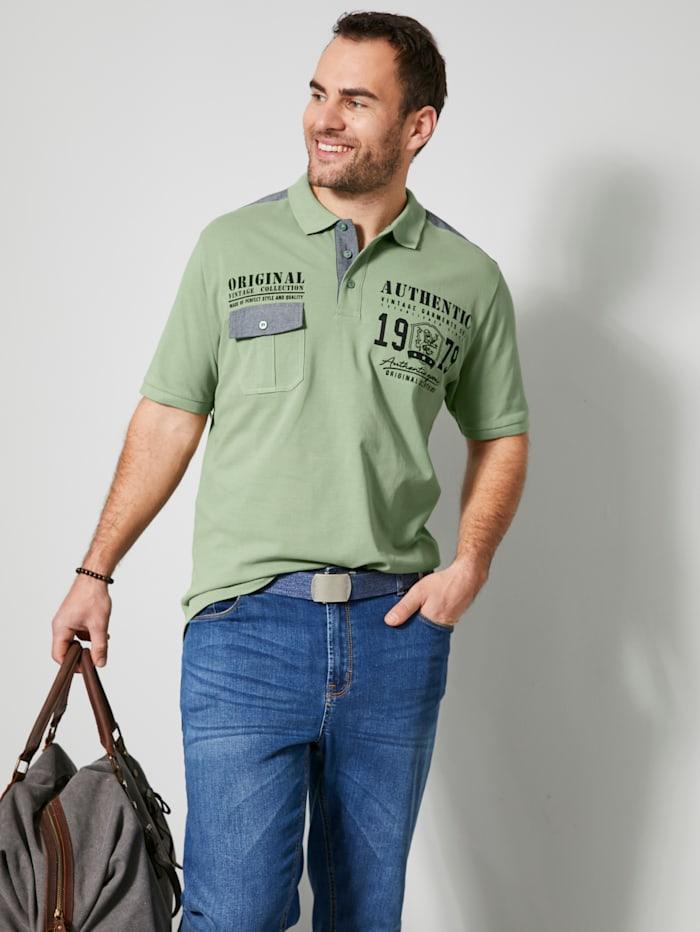 Men Plus Poloshirt aus reiner Baumwolle, Pistaziengrün
