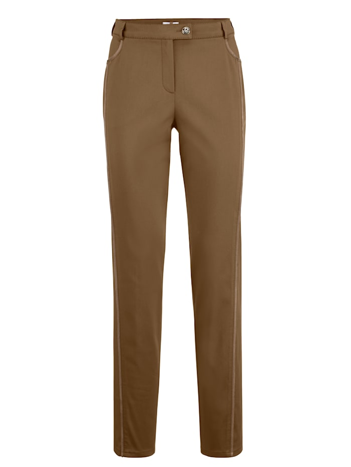 Trousers with faux leather front crease