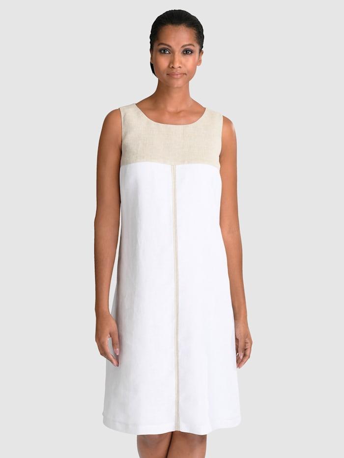 Alba Moda Kjole i 100% lin, Hvit/Beige