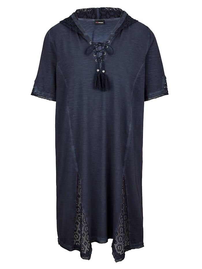 Longshirt mit Spitzeneinsätzen an Kapuze und Saum