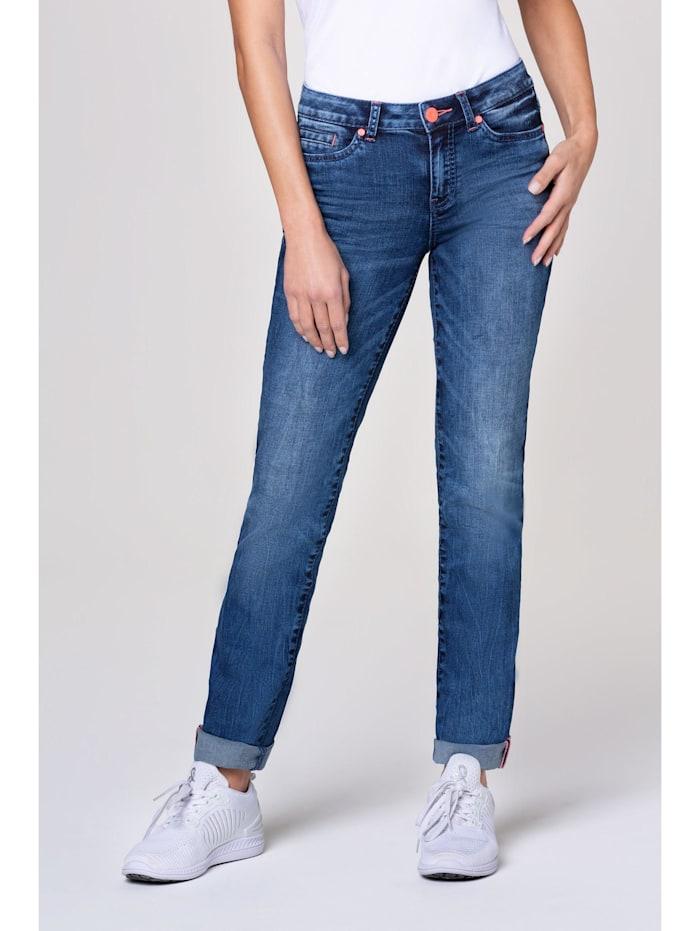 SOCCX Jeans RO:MY mit Used-Optik und Kontrastknopf, medium blue used