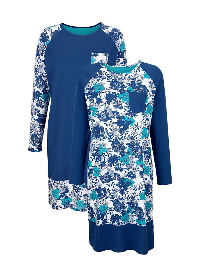 Blue Moon Nachthemden per 2 stuks met contrasterende raglanmouwen, Marine/Wit/Turquoise