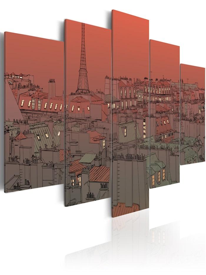 artgeist Wandbild Sonnenuntergang mit dem Eiffelturm im Hintergrund, Dunkelblau,Rot,Grau