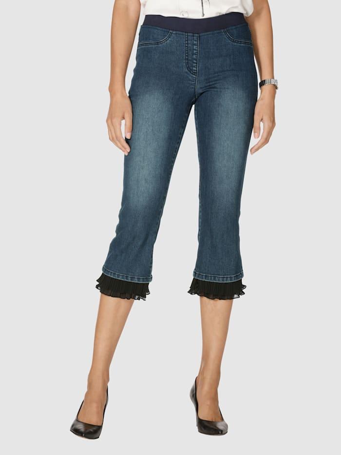 AMY VERMONT Jeans mit Plissee am Saumabschluss, Dark blue/Schwarz