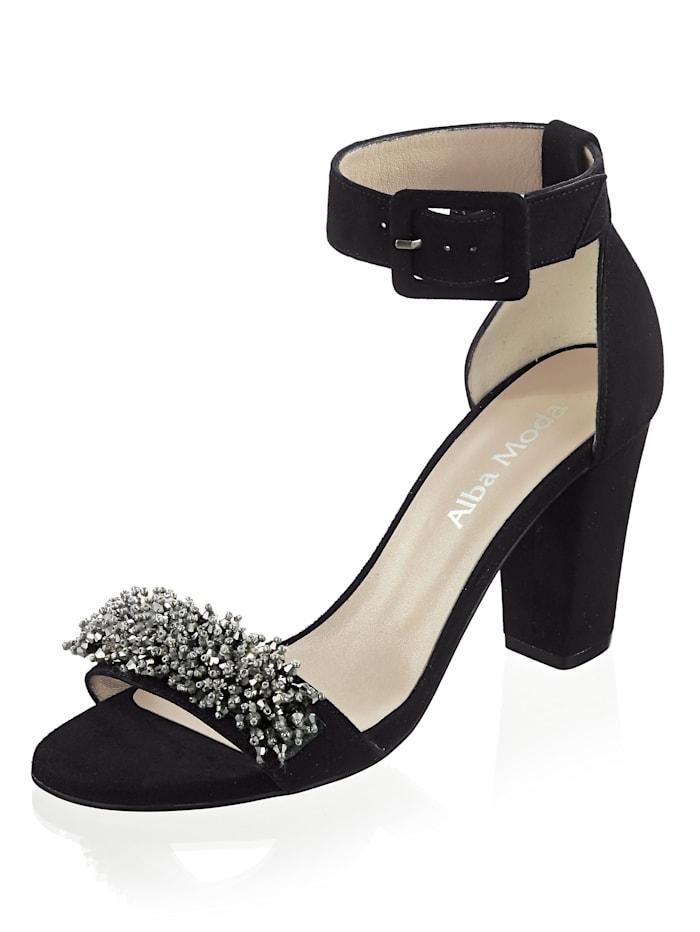 Alba Moda Sandaletten aus Ziegenveloursleder, Schwarz