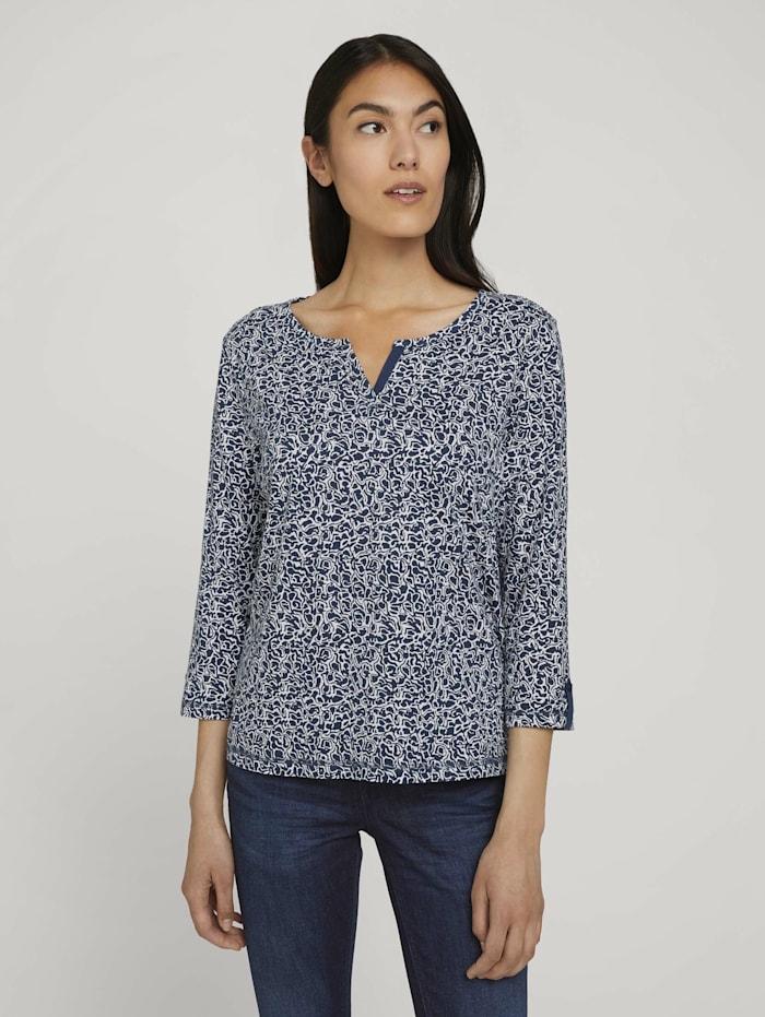 Gemustertes Henleyshirt mit Bio-Baumwolle
