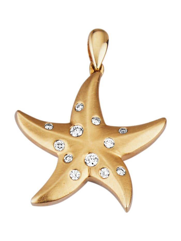 Diemer Diamant Seestern-Anhänger mit Brillanten, Gelbgoldfarben