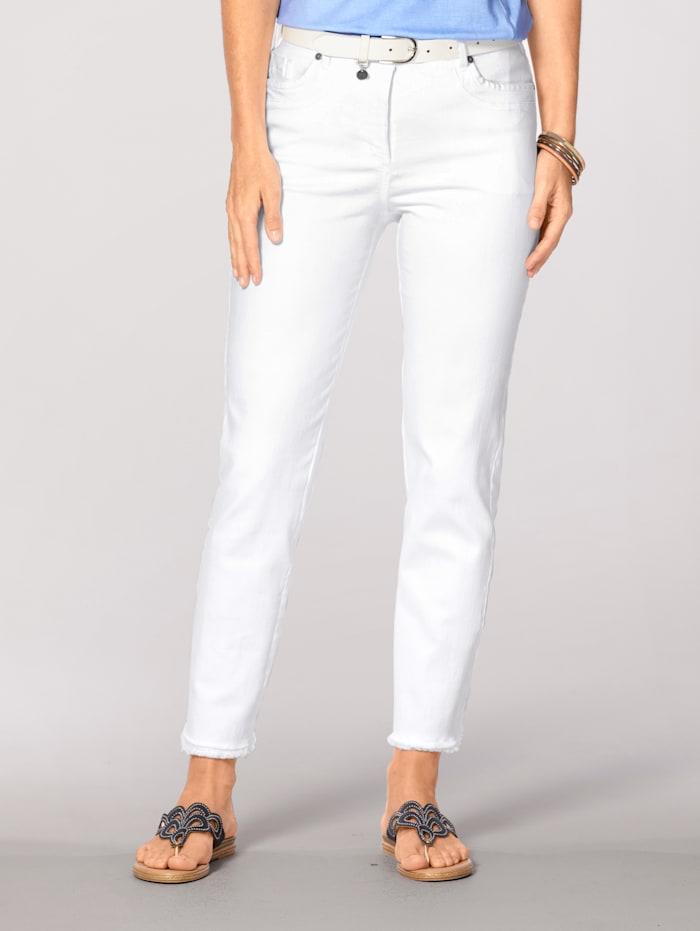 MONA Jeans met modieuze franjes, Wit