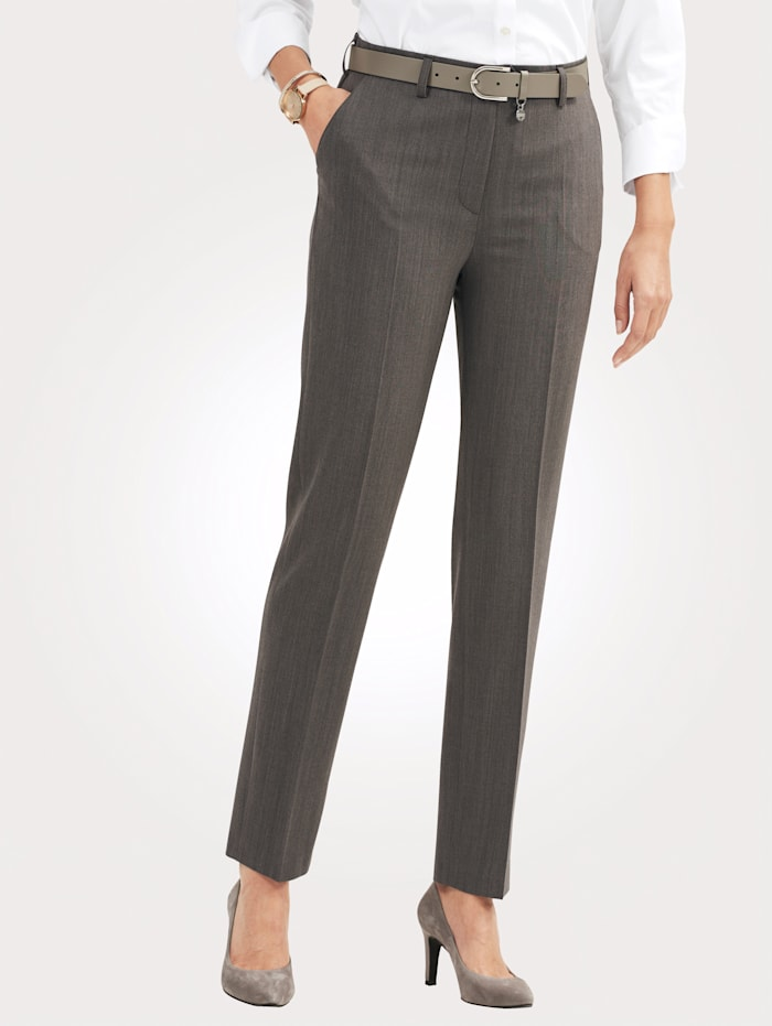 Relaxed by Toni Trousers made from premium-quality wool, Taupe