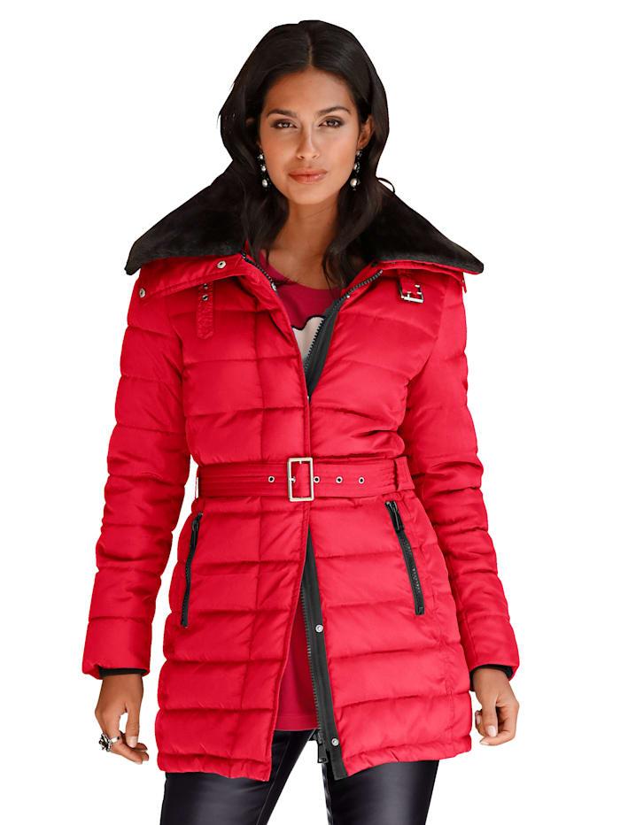 AMY VERMONT Gewatteerde jas met beleg van imitatiebont, Rood
