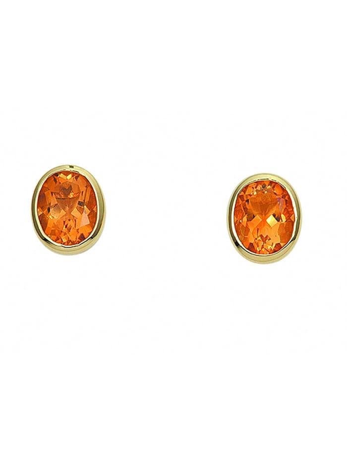 1001 Diamonds Damen Goldschmuck 585 Gold Ohrringe / Ohrstecker mit Citrin, gelb