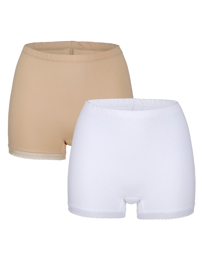Blue Moon Boxershorts uit de 'Cotton made in Africa'-collectie, Nude/Wit