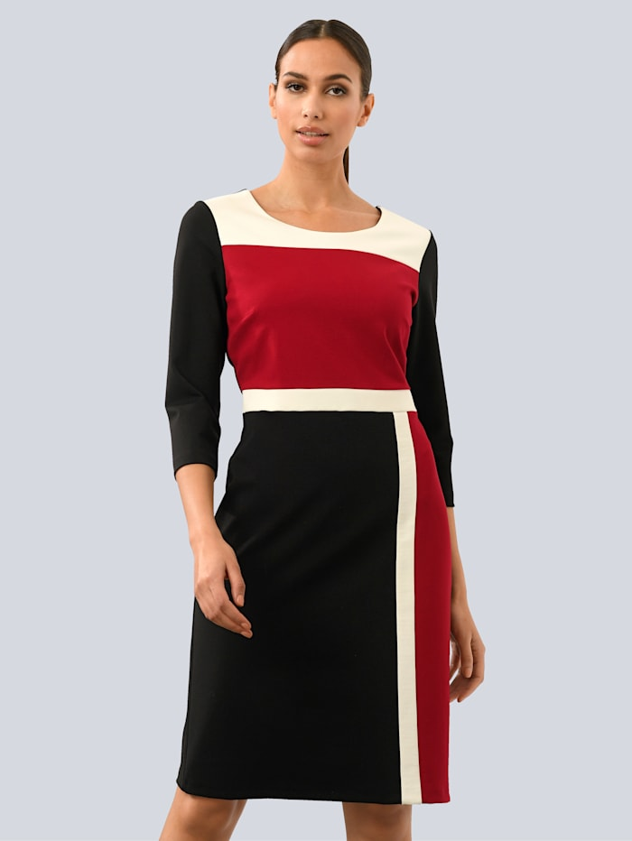 Alba Moda White Kleid im Colour-Blocking, Schwarz/Rot/Weiß