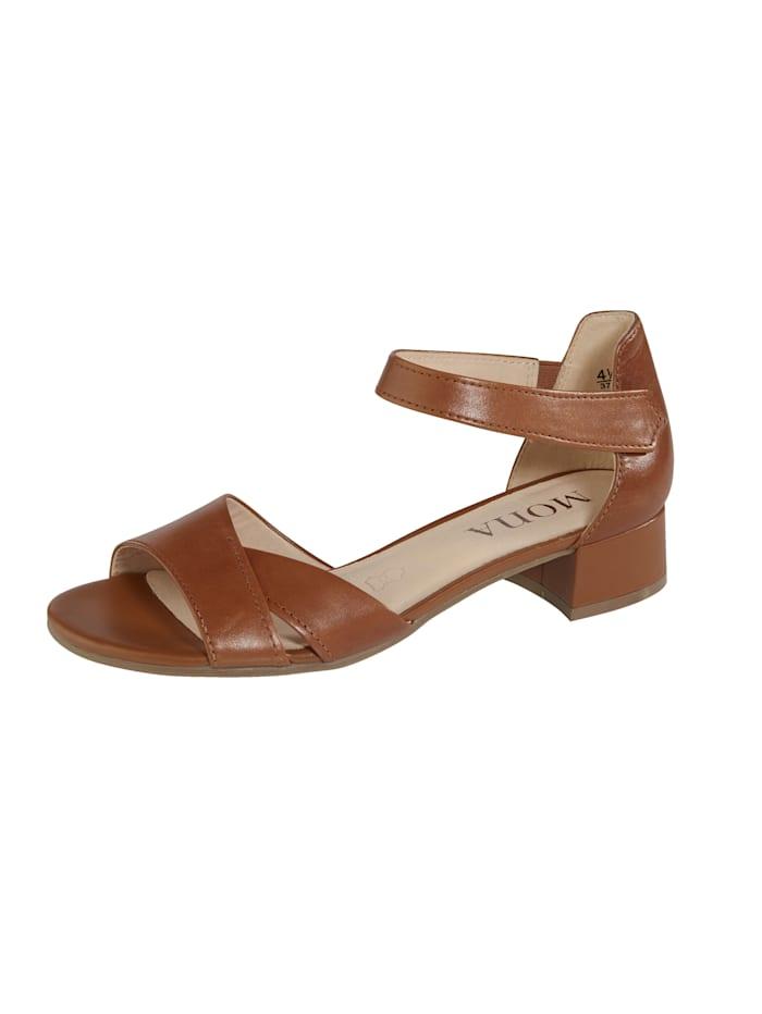MONA Sandals with Velcro fastening, Cognac
