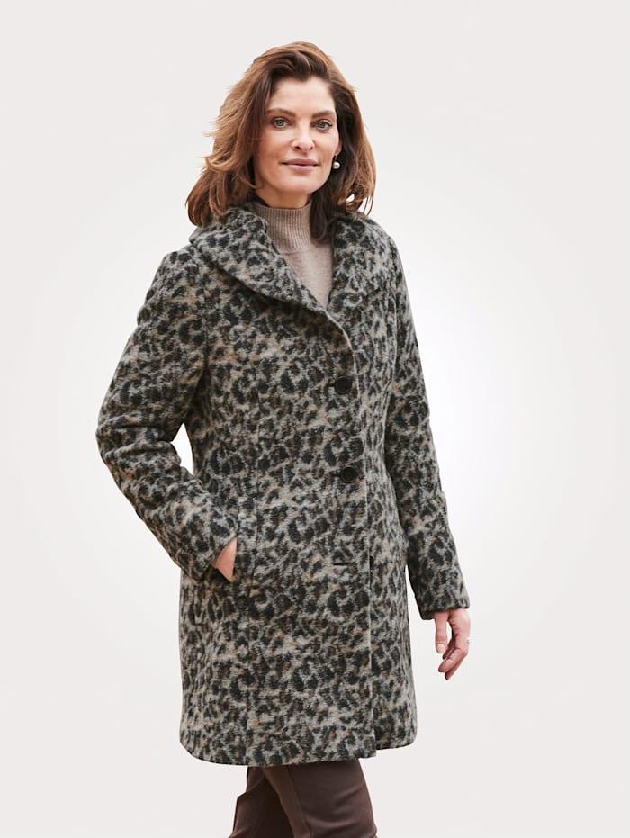 Barbara Lebek Veste en laine mélangée à motif léopard, Gris/Beige