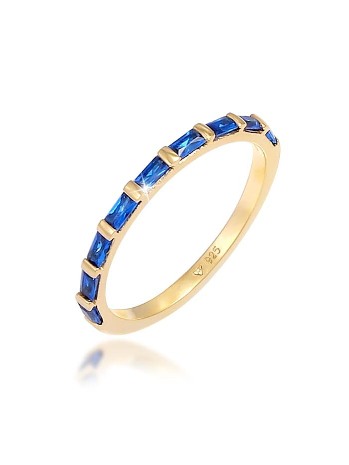 Elli Premium Ring Bandring Verlobung Synthetischer Saphir 925 Silber, Gold