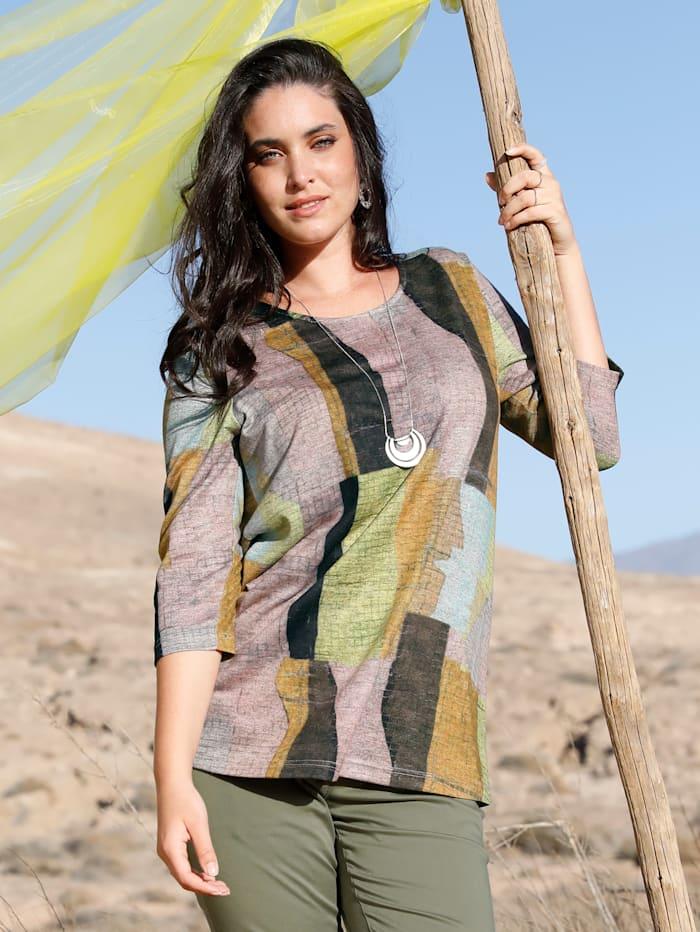MIAMODA T-shirt en maille fine à imprimé graphique, Multicolore