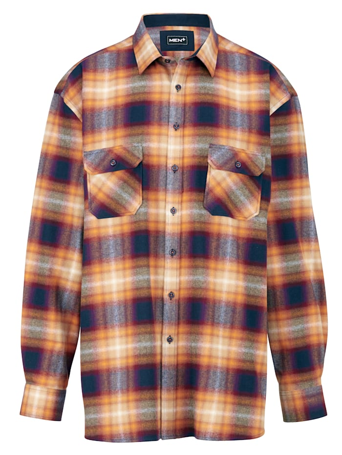 Men Plus Hemd Spezialschnitt, Orange/Marineblau/Rot