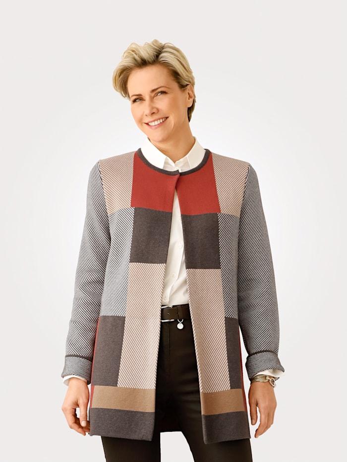 MONA Vest met gebreid jacquardpatroon, Terracotta/Okergeel